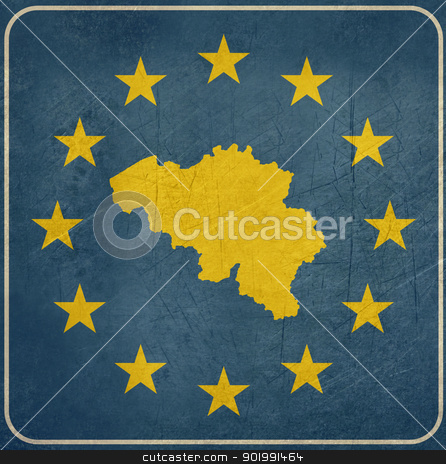 Grunge Belgium European button stock photo, Grunge Belgium map on blue and starry European button isolated on white background with copy space.  by Martin Crowdy