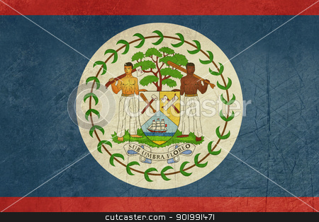 Grunge Belize Flag stock photo, Grunge sovereign state flag of country of Belize in official colors. by Martin Crowdy