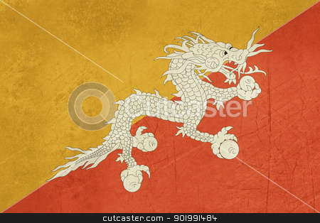 Grunge Bhutan Flag stock photo, Grunge sovereign state flag of country of Bhutan in official colors. by Martin Crowdy