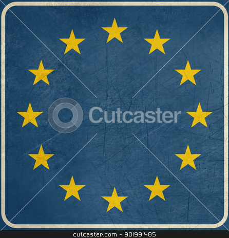 Grunge Blank European sign stock photo, Grunge blank European sign with stars, isolated on white background with copy space. by Martin Crowdy