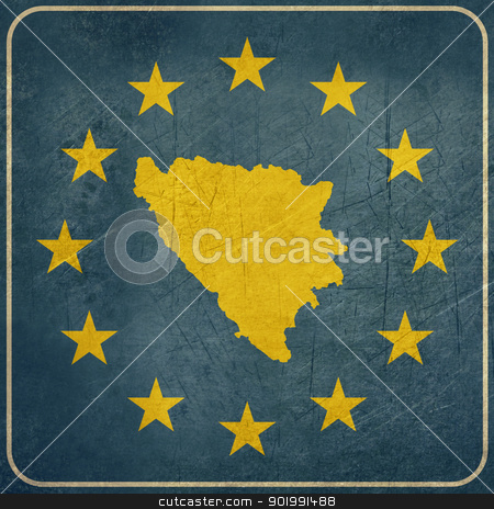 Grunge Bosnia and Herzegovina European button stock photo, Grunge Bosnia and Herzegovina map on blue and starry European button isolated on white background with copy space.  by Martin Crowdy