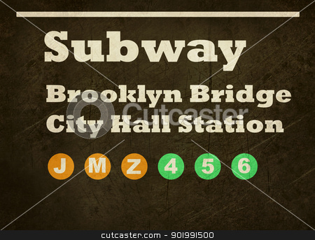 Grunge Brooklyn Bridge subway sign stock photo, Grunge Brooklyn Bridge City Hall Station subway train sign isolated on black background. by Martin Crowdy