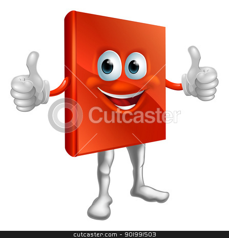 Red book man doing thumbs up stock vector clipart, Illustration of a happy cartoon red book man doing a thumbs up  by Christos Georghiou