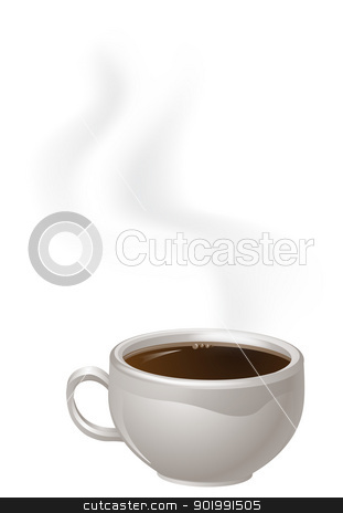 Cup of Steaming Coffee stock vector clipart, An illustration of a cup of steaming black Coffee by Christos Georghiou