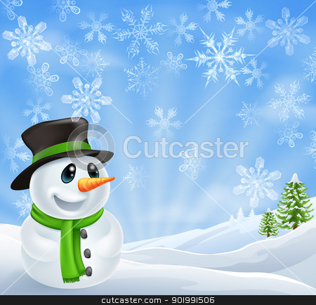 Christmas Snowman Scene stock vector clipart, Illustration of a Christmas Snowman Scene with trees covered in snow by Christos Georghiou