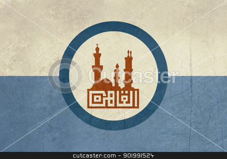 Grunge Cairo city flag stock photo, Grunge illustration of Cairo city flag in country of Egypt. by Martin Crowdy