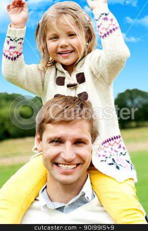 Father and Daughter stock photo, Father and Daughter. Excited girl child enjoying piggyback outdoors by Ishay Botbol