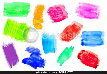 Set of hand painted stripe stock photo, Set of watercolor abstract hand painted backgrounds  by Grafvision