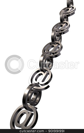 email chain stock photo, metal email chain on white background - 3d illustration by J?