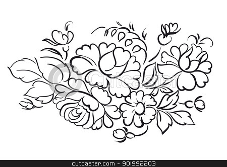 flower pattern stock photo, Flower pattern on white background. Vector illustration. by Kotkoa