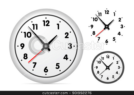Clock on the white wall stock photo, Clock on the white wall set. Vector illustration by sermax55