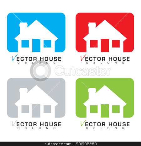 House icon set stock vector clipart, Collection of four bungalow house icons with colour background by Michael Travers