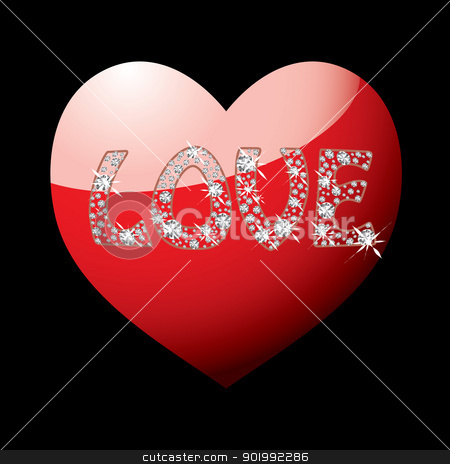 Red love heart stock vector clipart, Red love heart with word spelt out in diamonds on black background by Michael Travers