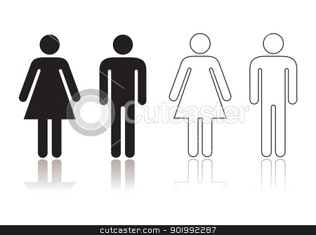 Restroom symbol stock vector clipart, Black and white toilet restroom symbol with shadow reflection by Michael Travers