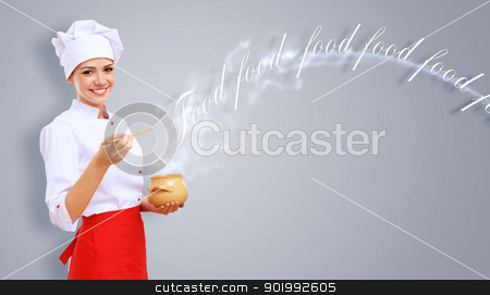 Portrait of a cook stock photo, Young female chef in red apron against collour background by Sergey Nivens