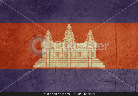 Grunge Cambodia Flag stock photo, Grunge sovereign state flag of country of Cambodia in official colors. by Martin Crowdy