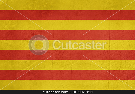 Grunge Catalonia Flag stock photo, Grunge illustration of Catalonia state flag in Spain, isolated on white background.  by Martin Crowdy