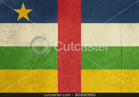Grunge Central African Republic flag stock photo, Grunge sovereign state flag of country of Central African Republic in official colors. by Martin Crowdy