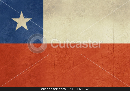 Grunge Chile Flag stock photo, Grunge sovereign state flag of country of Chile in official colors. by Martin Crowdy
