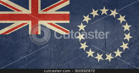 Grunge Cook Islands flag stock photo, Grunge sovereign state flag of dependent country of Cook Islands in official colors.  by Martin Crowdy