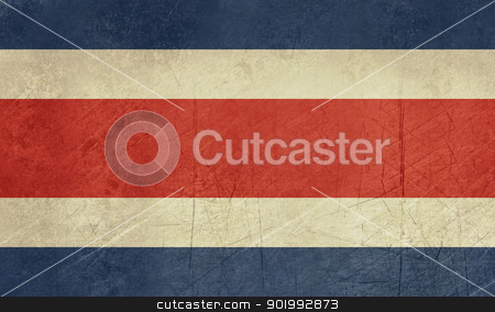 Grunge Costa Rica Flag stock photo, Grunge sovereign state flag of country of Costa Rica in official colors. by Martin Crowdy