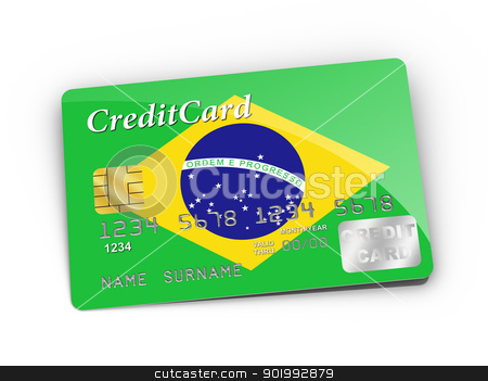 Credit Card covered with Brazil flag. stock photo, 3D rendered Credit Card covered with Brazil flag. by ayzek
