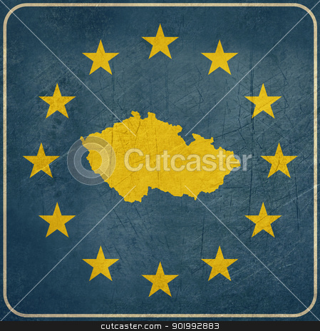 Grunge Czech Republic European button stock photo, Grunge Czech Republic map on blue and starry European button isolated on white background with copy space.  by Martin Crowdy