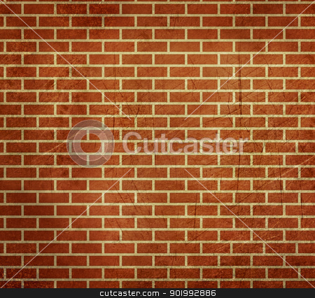 Grunge Dark red brick wall background stock photo, AGrunge bstract background of dark red bricks; isolated on white background. by Martin Crowdy