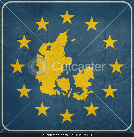 Grunge Denmark European button stock photo, Grunge Denmark map on blue and starry European button isolated on white background with copy space.  by Martin Crowdy