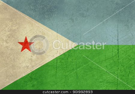 Grunge Djibouti Flag stock photo, Grunge sovereign state flag of country of Djibouti in official colors. by Martin Crowdy