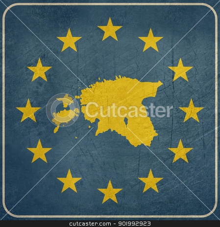 Grunge Estonia European button stock photo, Grunge Estonia map on blue and starry European button isolated on white background with copy space.  by Martin Crowdy