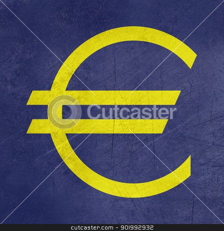 Grunge European currency symbol stock photo, Grunge European currency symbol on blue background in official color. by Martin Crowdy