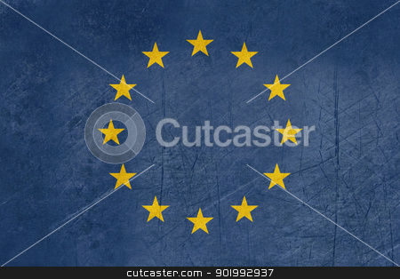 Grunge European Union flag stock photo, Grunge illustration of European Union flag in official colors. by Martin Crowdy