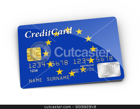 Credit Card covered with European flag. stock photo, 3D rendered Credit Card covered with European flag. by ayzek