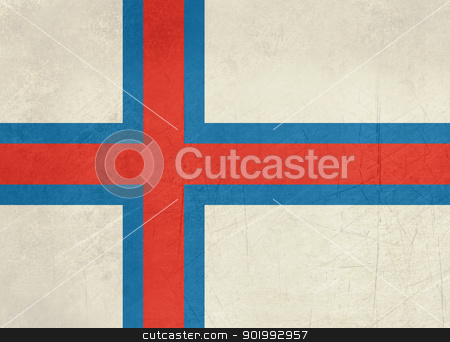 Grunge Faroe Islands flag stock photo, Grunge Sovereign state flag of dependent country of Faroe Islands in official colors.  by Martin Crowdy