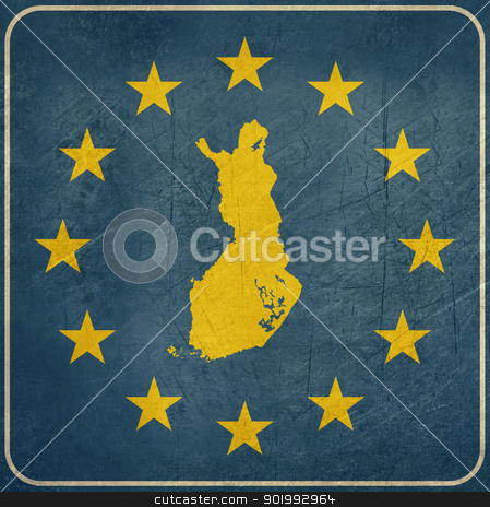 Grunge Finland European button stock photo, Grunge Finland, Finnish, map on blue and starry European button isolated on white background with copy space.  by Martin Crowdy