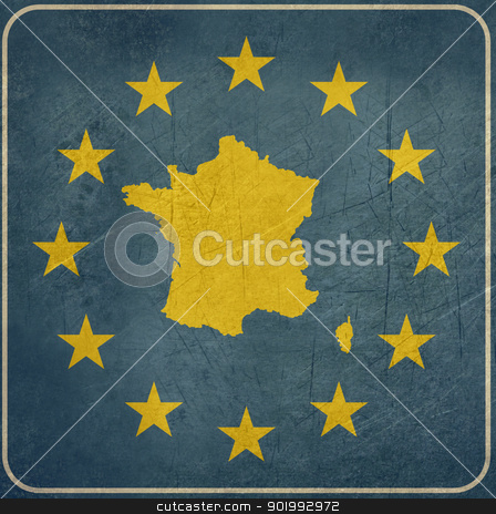 Grunge France European button stock photo, Grunge France map on blue and starry European button isolated on white background with copy space.  by Martin Crowdy