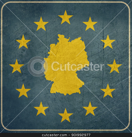 Grunge Germany European button stock photo, Grunge Germany map on blue and starry European button isolated on white background with copy space.  by Martin Crowdy