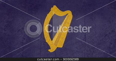 Grunge Gold harp on Ireland flag stock photo, Grunge Golden harp on Irish or Ireland presidential flag. by Martin Crowdy