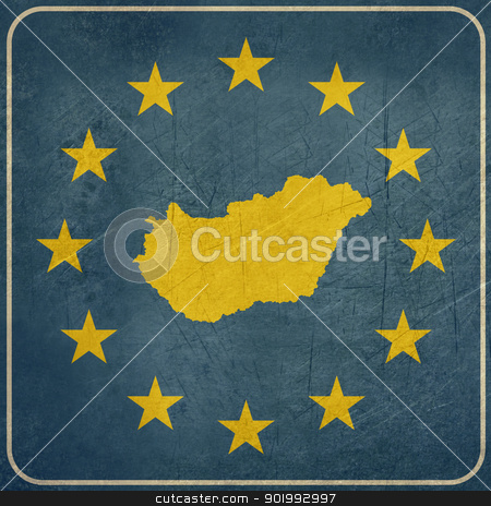 Grunge Hungary European button stock photo, Grunge Hungary map on blue and starry European button isolated on white background with copy space.  by Martin Crowdy