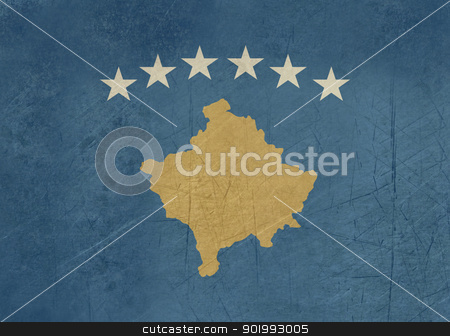 Grunge Kosovo Flag stock photo, Grunge sovereign state flag of country of Kosovo in official colors. by Martin Crowdy