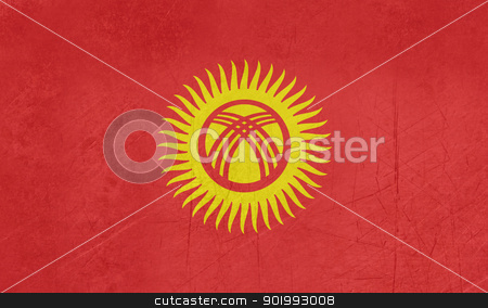 Grunge Kyrgyzstan flag stock photo, Grunge sovereign state flag of country of Kyrgysztan in official colors. by Martin Crowdy