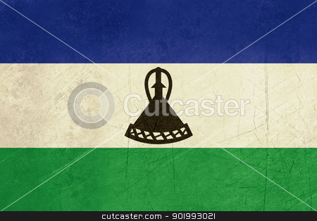 Grunge Lesotho Flag stock photo, Grunge sovereign state flag of country of Lesotho in official colors. by Martin Crowdy