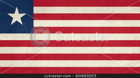 Grunge Liberia Flag stock photo, Grunge sovereign state flag of country of Liberia in official colors. by Martin Crowdy