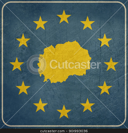 Grunge Macedonia European button stock photo, Grunge Macedonia  map on blue and starry European button isolated on white background with copy space.  by Martin Crowdy