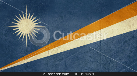 Grunge Marshall Islands flag stock photo, Grunge sovereign state flag of country of Marshall Islands in official colors. by Martin Crowdy