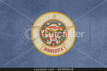 Grunge Minnesota state flag stock photo, Grunge Minnesota state flag of America, isolated on white background. by Martin Crowdy