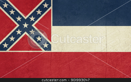 Grunge Mississippi state flag stock photo, Grunge Mississippi state flag of America, isolated on white background. by Martin Crowdy