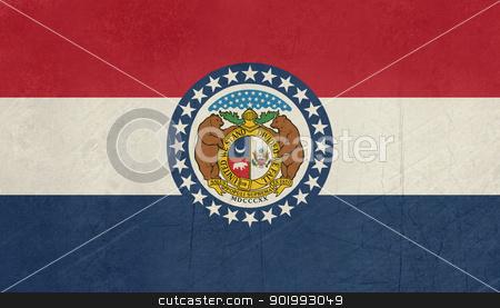 Grunge Missouri state flag stock photo, Grunge Missouri state flag of America, isolated on white background. by Martin Crowdy