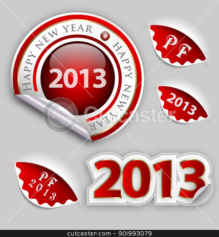 Happy New Year decoration elements  stock vector clipart, A collection of a Happy New Year decoration elements  by Vladimir Repka